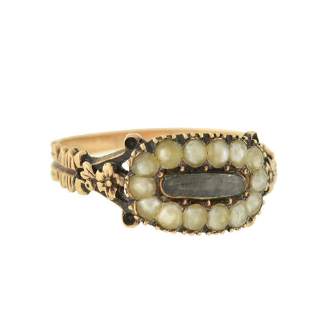 Georgian 14kt Natural Pearl & Glass Window Mourning Ring