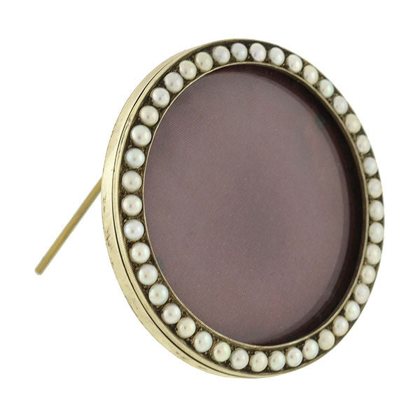 "Victorian 9kt Natural Pearl Picture Frame 2.5"" Diameter"