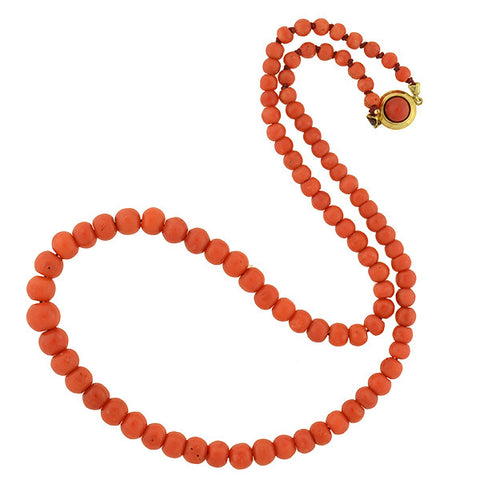 Late Victorian 14kt Natural Coral Bead Necklace