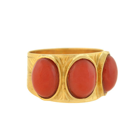 Georgian 18kt Natural Oxblood Coral 3-Stone Ring