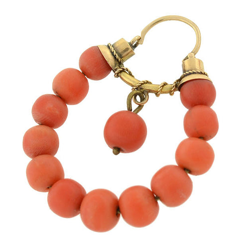 Victorian 18kt Natural Coral Hoop Earrings
