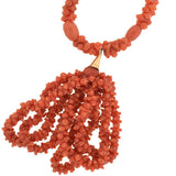 Victorian Natural Carved Coral Beaded Tassel Necklace