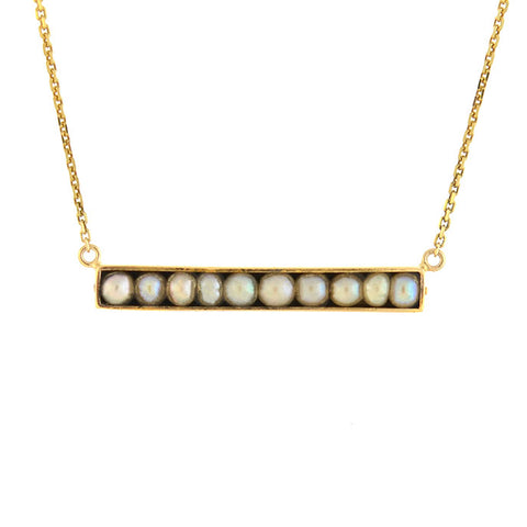 Late Victorian 14kt Natural Pearl Bar Pendant Necklace