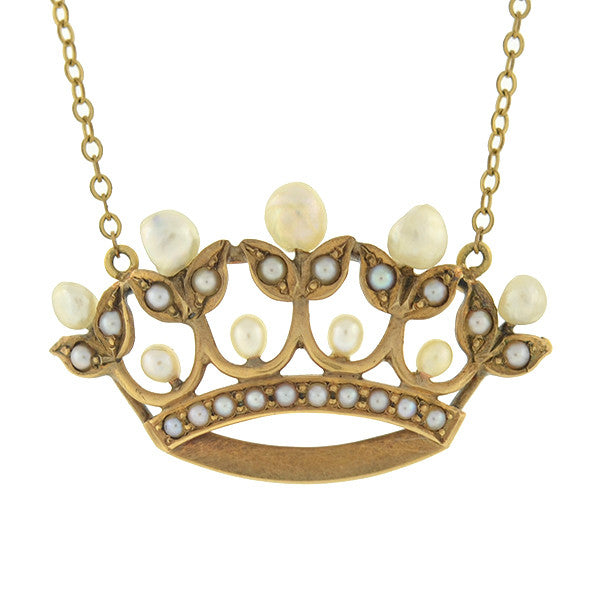 Victorian 14kt Natural Pearl Crown Necklace