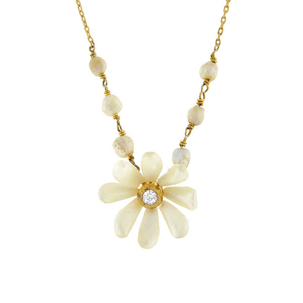 Art Nouveau 14kt Natural Pearl & Diamond Daisy Necklace