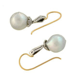 Retro 14kt/Sterling Natural Silver Drop Pearl Diamond Earrings