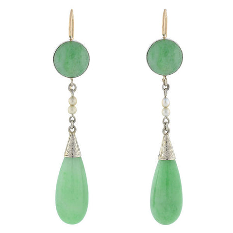 Art Deco 14kt Natural Pearl & Jade Teadrop Earrings