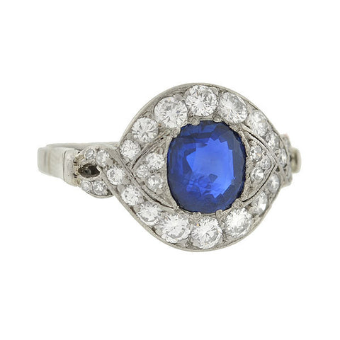 Art Deco Platinum Sapphire & Diamond Eye-Shaped Ring