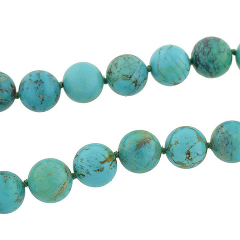 Estate Large Natural Turquoise Bead Necklace with Sterling Clasp