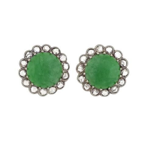 Retro Palladium Natural Untreated Jadeite Jade + Rose Cut Diamond Cluster Earrings