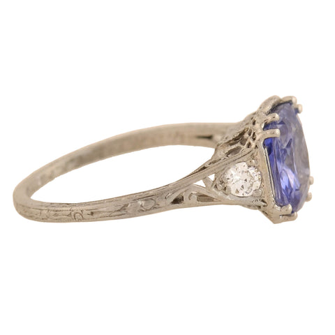Art Deco Platinum No Heat Ceylon Sapphire + Diamond Ring 1.97ct center