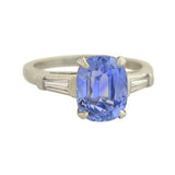 Retro Platinum No Heat Ceylon Sapphire + Diamond Ring 3.93ct