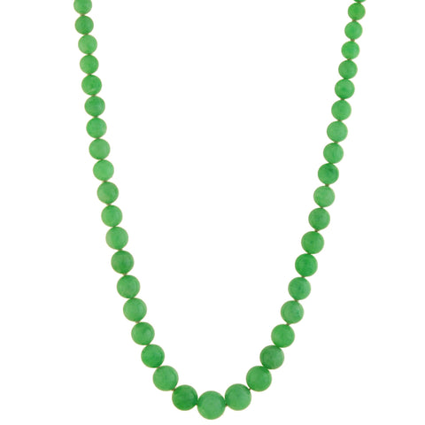 Edwardian GIA-Certified Natural Jadeite Bead Necklace + Platinum Diamond Clasp 34""