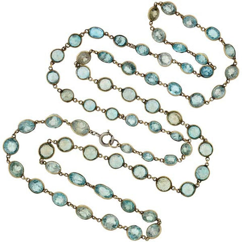 Art Deco 14kt Faceted Natural Zircon Necklace 29""