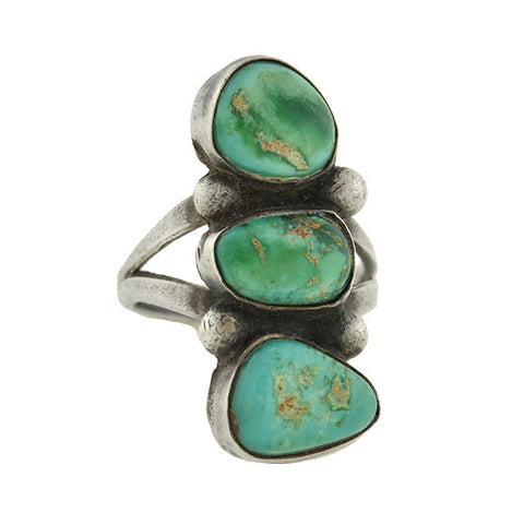 Vintage Navajo Old Pawn Sterling & Turquoise Ring