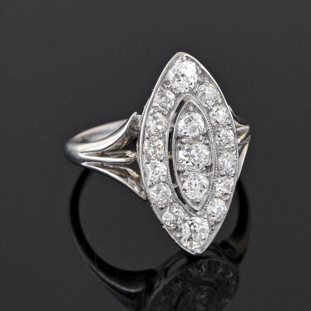 Edwardian Platinum Pavé Diamond Navette Ring 1.30ctw
