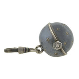 Victorian Niello Watch Fob Spinning Ball Pendant with Star Motif