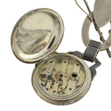 Victorian Huge Sterling & Niello Chatelaine Watch Fob Pendant