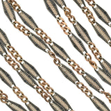 Victorian Long Niello Silver & Rose Gold Gilt Chain 61