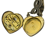 Victorian Huge Sterling & Niello Chatelaine Heart Watch Pendant