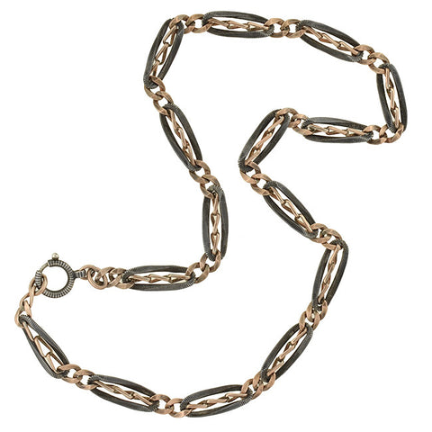 Victorian Niello Striped Silver & Rose Gold Gilt Link Chain 17""