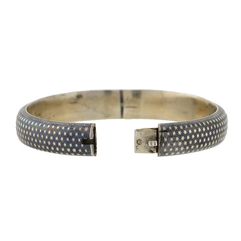 Victorian Sterling Niello Star Motif Bangle Bracelet