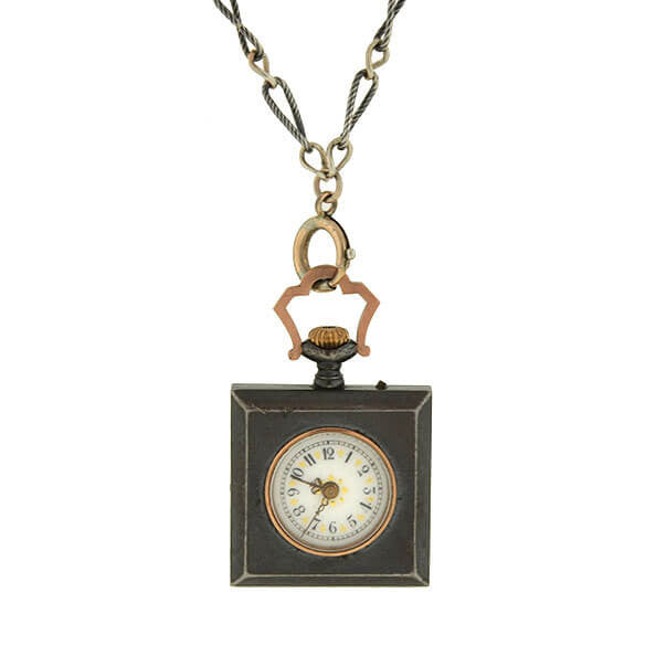 Victorian Gunmetal Watch & Niello Chain Necklace