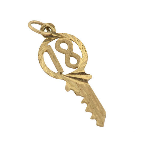 "Vintage 9kt Yellow Gold ""18"" Key Charm"