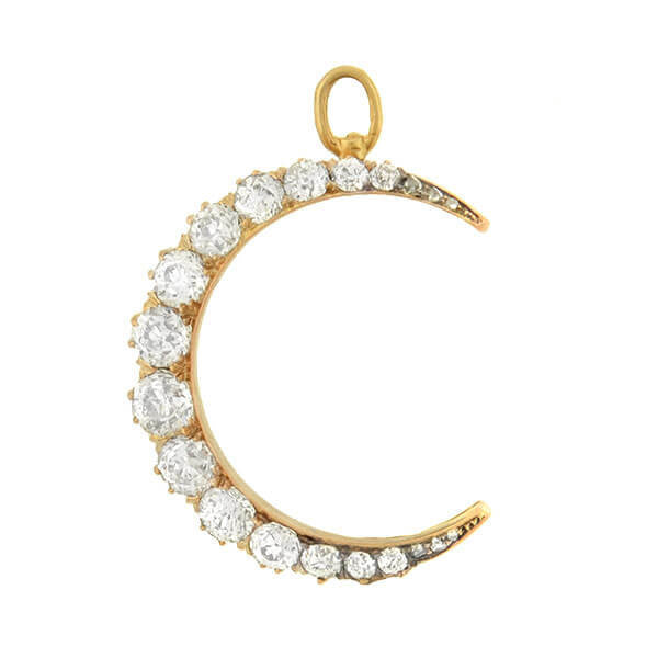 Victorian 14kt Mine Cut Diamond Crescent Moon Pendant 1.75ctw