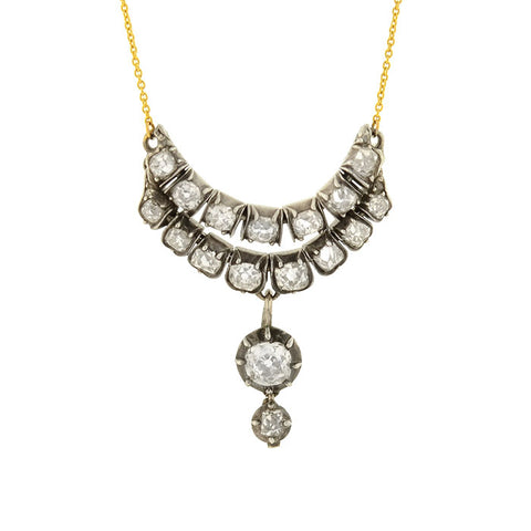 Victorian Sterling/14kt Diamond Multi-Link Pendant Necklace 3.25ctw