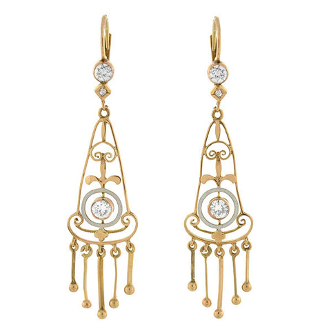 Edwardian 14kt White Enamel & Diamond Fringe Earrings