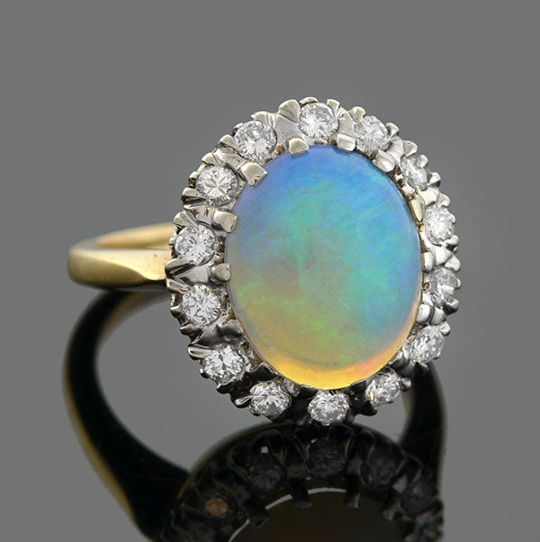 Art Nouveau 14kt Opal Mine Cut Diamond Cluster Ring