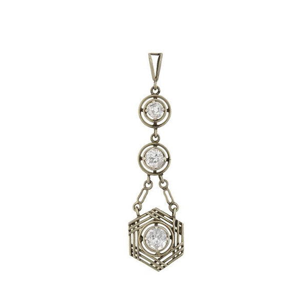 Art Deco 14kt White Gold Multi Diamond Pendant