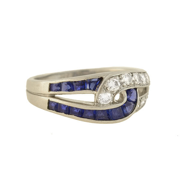 OSCAR HEYMAN Vintage Platinum Diamond + Sapphire Interlocking Link Ring