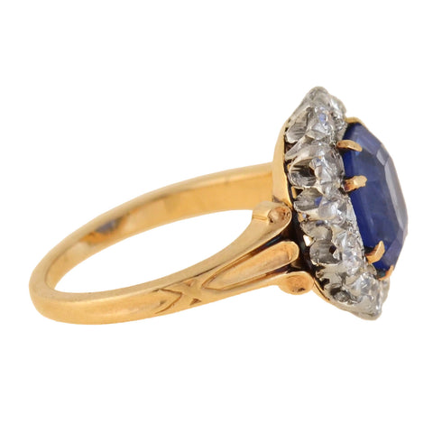 Edwardian 18kt/Platinum Natural Ceylon Sapphire + Diamond Ring 3.00ct center