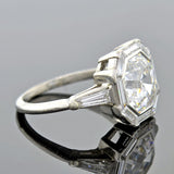 Art Deco Platinum Octagonal Step Cut Diamond Engagement Ring 2.68ct