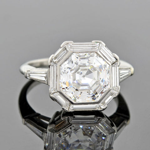 Late Art Deco Platinum Diamond Engagement Ring 0.51ct