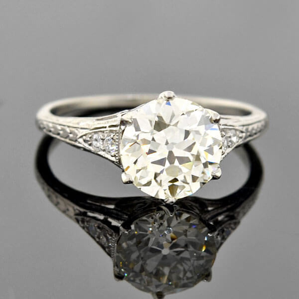 Edwardian Platinum Diamond Engagement Ring 2.19ct