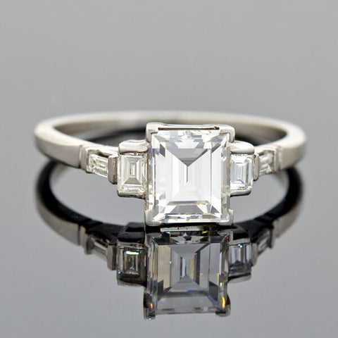 Art Deco Platinum Rectangular Step Cut Diamond Engagement Ring 1.06ct