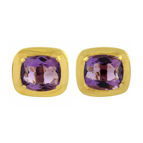 Vintage 14kt Gold Amethyst Omega Clip Earrings