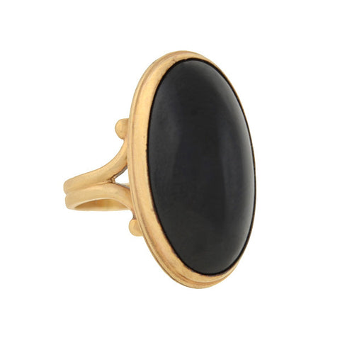 Victorian 14kt Black Onyx Cabochon Ring