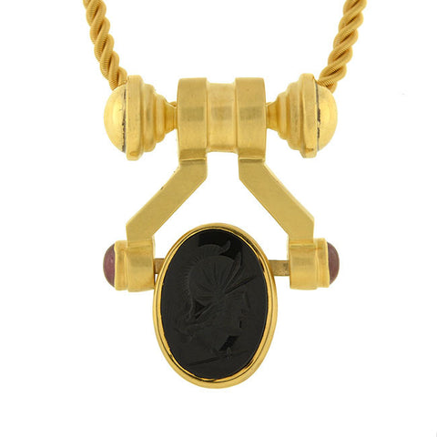 AURAFIN Estate 18kt Carnelian & Onyx Intaglio Spinner Necklace