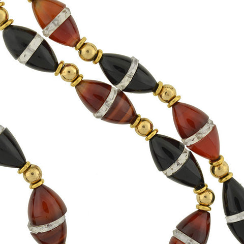 Art Deco 14kt Onyx & Carnelian Bead Necklace