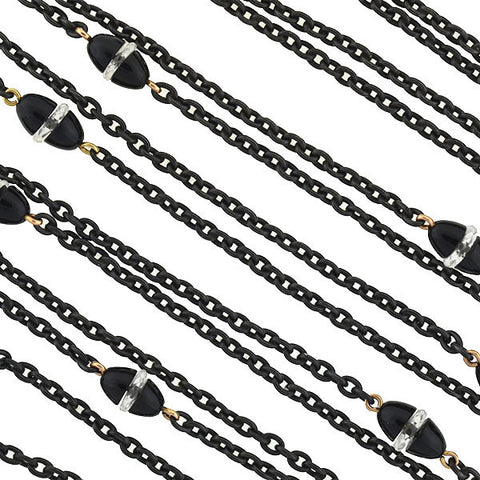 Victorian Long Gunmetal Chain with Onyx & Rock Crystal Links 60""