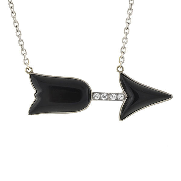 Art Deco 18kt/14kt Onyx & Diamond Arrow Necklace