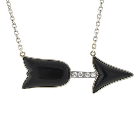 Art Deco 18kt/14ktk Onyx & Diamond Arrow Necklace