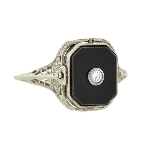 Art Deco 14kt Onyx - Cameo Flip Ring