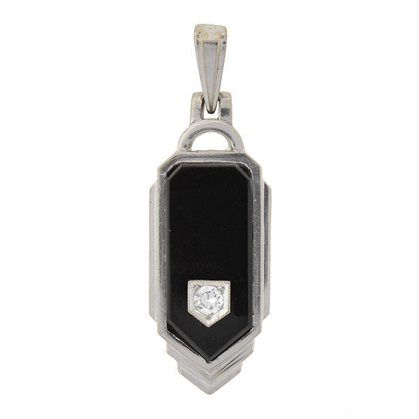 Art Deco 14kt Gold, Onyx & Diamond Pendant