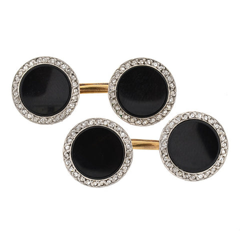 Edwardian Platinum Topped 14kt Onyx & Diamond Cufflinks