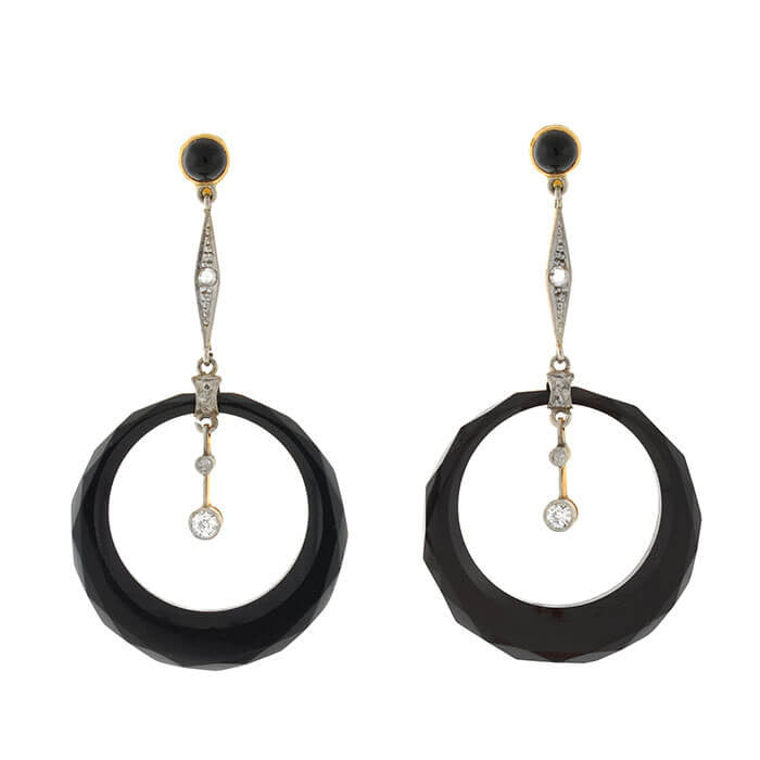 Late Art Deco 14kt Onyx & Diamond Drop Earrings